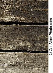 railroad ties background - three stacked railroad ties in...
