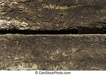 railroad ties stacked - two railroad ties stacked texture or...