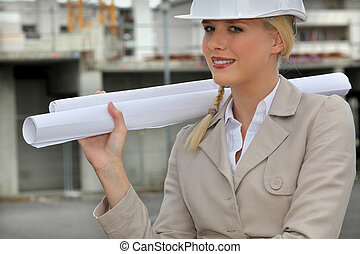 female entrepreneur in construction site