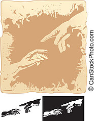 hands stylized for michelangelo - two hands stylized for...