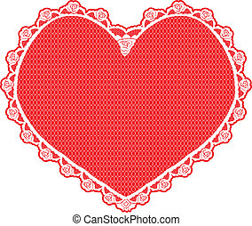 heart shape lace doily, white