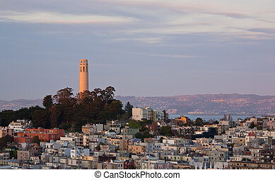 Coit Tower at Sunset - San Francisco and Coit Tower at...