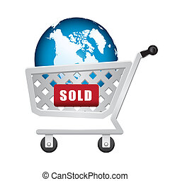 sold earth in shopping cart - illustration