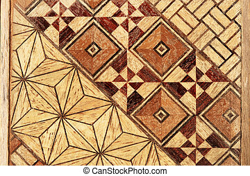 inlaid wood pattern - macro image of inlaid abstract...