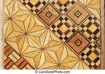 geometric wood marquetry - macro image of inlaid abstract...