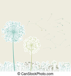 Vintage two dandelions in wind on light EPS 8 vector file...
