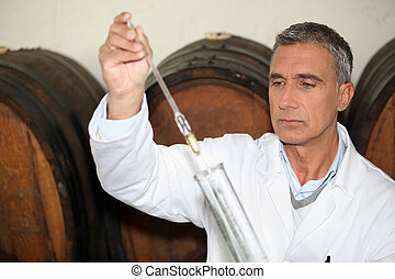 expert making tests in a wine cellar