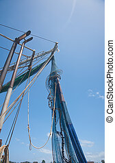 pesca, nido, ahorcadura, barco