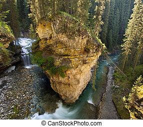 Johnston Canyon, Banff - Creek in Johnston Canyon, Banff,...
