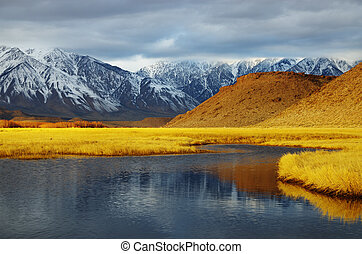 winter valley landscape - overcast winter mountain valley...