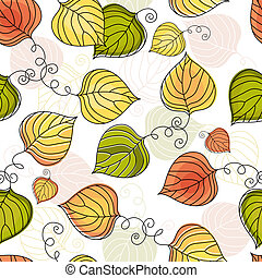 Autumn colorful seamless pattern - Autumn seamless white...