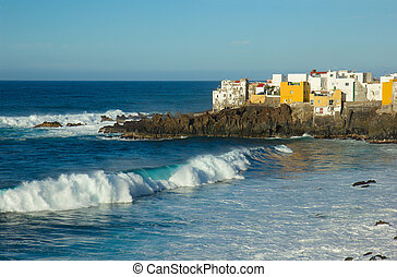 Puerto de la Cruz, Tenerife, Spain - wild ocean coast in...