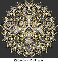 vector seamless gold pattern on a silver background