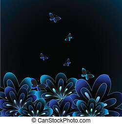 Abstract flower on black background. Vector