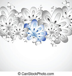 Floral card with butterfly Vector - Floral background Vector...