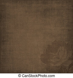 Vintage textured brown background with rose silhouette