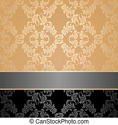 Seamless pattern, floral decorative background, gray ribbon