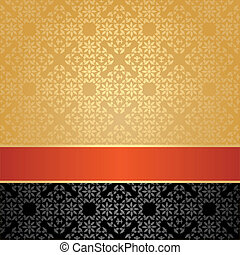 Seamless pattern, floral decorative background, orange...