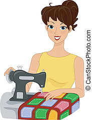 Quilting Girl - Illustration of a Girl Making a Quilt