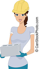 Construction Worker - Illustration of a Girl Doing...