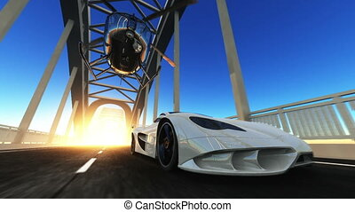 sports car - car and helicopteraction