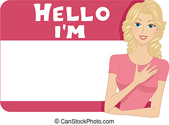 Name Tag Girl - Illustration of a Blank Name Tag for a Girl