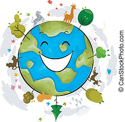 Earth Mascot - Illustration of a Happy Earth Mascot