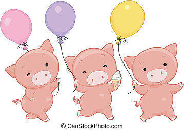 Pig Balloons - Illustration of Pigs Holding Balloons