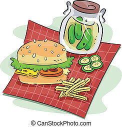 Hamburger and Pickle - Illustration of a Hamburger and a...