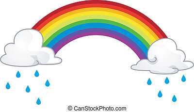 Rainbow - Illustration of a Rainbow Hiding Behind Rainclouds
