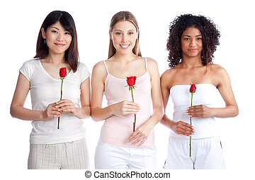 Multiethnic Woman Holding Rose - Multiethnic group of young...