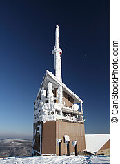 Transmitter tower on the mountain of Beskydy in Czech...
