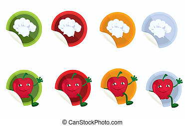 Set-of-vector-stickers-with-chef-hat-and-apple
