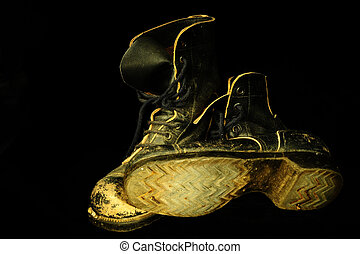 Military Boots - Pair of Old, Well Worn, Military Boots on...
