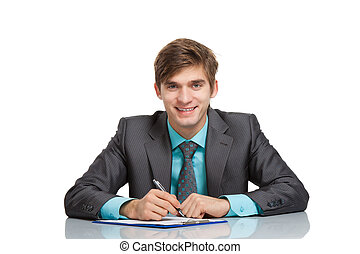 young businessman - businessman sitting at the desk isolated...