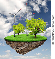 Little island with wind turbines and trees