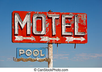 Vintage, neon motel sign - Red, vintage, neon motel sign on...