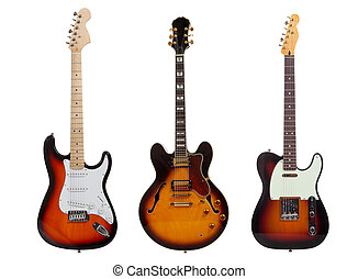 Group of three Electric guitars on white background - A...