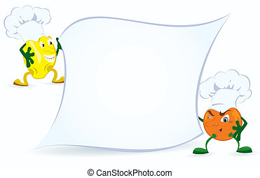 Lemon-and-orange-are-holding-promotion-board