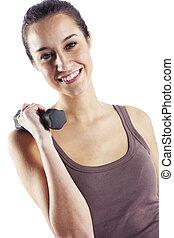 kvinna, Hantlar, isolerat, vit,  fitness
