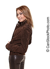 Young beautiful sexy smiling stylish  blond woman isolated on white in brown jacket
