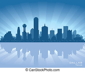 Dallas, Texas skyline illustration with reflection in water