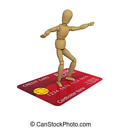 The wooden man stands on the credit card surfer pose. 3D...