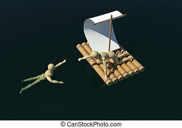 The wooden man on a raft pulled out to a drowning man. Top...