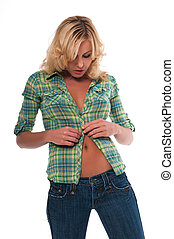 Green plaid - Pretty young blonde woman in a green plaid...