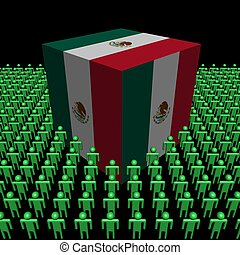 Mexican flag cube people illustration