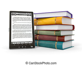 E-book reader Books and tablet pc 3d