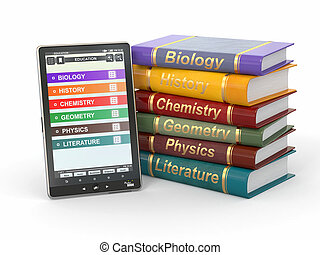 E-book reader Textbooks and tablet pc 3d