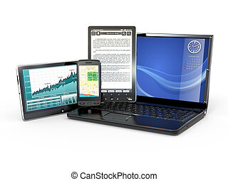 Laptop, mobile phone, tablet pc and e-book 3d