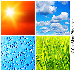 Nature backgrounds collage - Beautiful fresh nature...